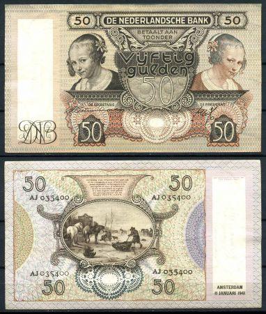 НИДЕРЛАНДЫ 1941г.(11.01) P# 58 / 50 ГУЛЬДЕНОВ / XF-AUNC / ФАУНА