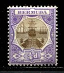 БЕРМУДА 1906-10гг. GB# 34 / 1/4d. MH OG VF / ПАРУСА