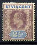СТ. ВИНСЕНТ 1902г. GB# 69 / 2 1/2d. MH OG VF