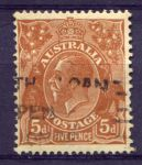 АВСТРАЛИЯ 1930г. GB# 103a / 5d. / USED F-VF / ФАУНА