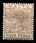 МАЛЬТА 1885-90гг. GB# 27 / 4d. / MH OG F-VF