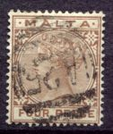 МАЛЬТА 1885-90гг. GB# 27 / 4d. / USED F-VF