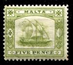 МАЛЬТА 1904-14гг. GB# 60 / 5d. / MH OG F-VF / ПАРУСА