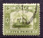 МАЛЬТА 1904-14гг. GB# 60 / 5d. / USED F-VF / ПАРУСА