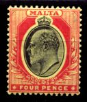 МАЛЬТА 1904-14гг. GB# 55 / 4d. / MH OG F-VF