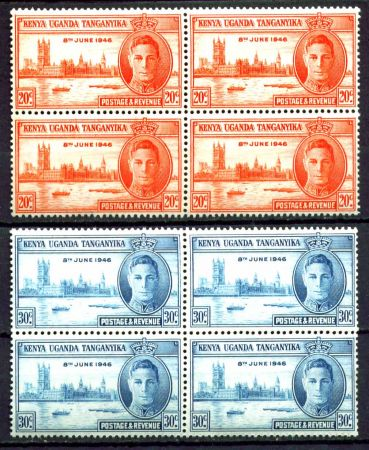 КЕНИЯ УГАНДА ТАНГАНИКА 1946г. GB# 155-6 MNH OG VF КВ. БЛОКИ / ОМНИБУС