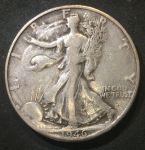 """США 1946 г. D • KM# 142 • полдоллара • """"Шагающая свобода"""" • регулярный выпуск • VF"""