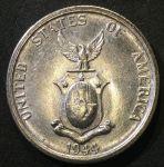 Филиппины 1944 г. S • KM# 183 • 50 сентаво • герб страны • серебро • регулярный выпуск • MS BU