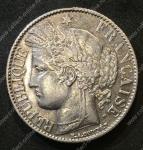 Франция 1888 г. A(Париж) KM# 822.1 • 1 франк • богиня Церера • серебро • регулярный выпуск • AU+