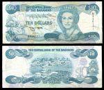 Багамы 1974(1992) г. • P# 53 • 10 долларов • Елизавета II • Хоуптаун, маяк Абако • регулярный выпуск • XF-