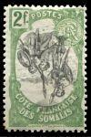 Берег Сомали 1903 г. • Iv# 65i • 2 fr. • осн. выпуск (перевернутый центр) • воины в дозоре • MH OG VF