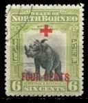 Северное Борнео 1918 г. • Gb# 240 • 6 + 4 c. • надп. доп. номинала для Красного Креста • благотворительный выпуск • Used VF ( кат. - £13 )