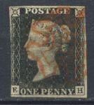 Великобритания 1840 г. Gb# 1 • 1 d. • Королева Виктория • Черный пенни • гашение - красный мальтийский крест • Used VF+ ( кат.- £400 )