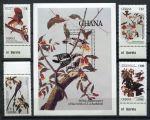 Гана 1985 г. • SC# 980-4 • 5 - 110 ce. • 200 лет со дня рождения Джона Одюбона • птицы • MNH OG XF • полн. серия ( кат. - $25 )