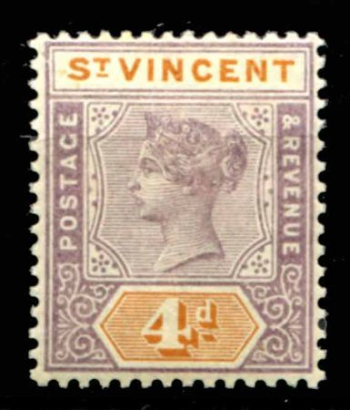 СТ. ВИНСЕНТ 1899г. GB# 71 / 4d. MH OG VF