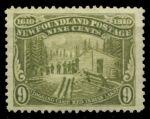 Ньюфаундленд 1911 г. • SC# 100 • 9 c. • 300-летие колонизации • лагерь лесозаготовки • MLH OG VF ( кат.- $ 75 )