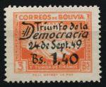 Боливия 1950 г. • SC# C137 • 1.40 на 3 b. • 1-я годовщина окончания гражданской войны (надпечатка) • авиапочта • MH OG VF