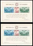 Сан-Марино 1945 г. • Mi# Block 4A,B(SC# 239,239i) • 10+15+25 L. • 50-летие реконструкции дворца правительства • MNH OG XF • блоки ( кат. - $350+ )