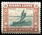 Сьерра-Леоне 1933 г. • Gb# 174 • 5 d. • 100-летие отмены рабства • африканское парусное каноэ • MH OG VF