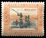 Сьерра-Леоне 1933 г. • Gb# 175 • 6 d. • 100-летие отмены рабства • лодка с рыбаками • MH OG VF